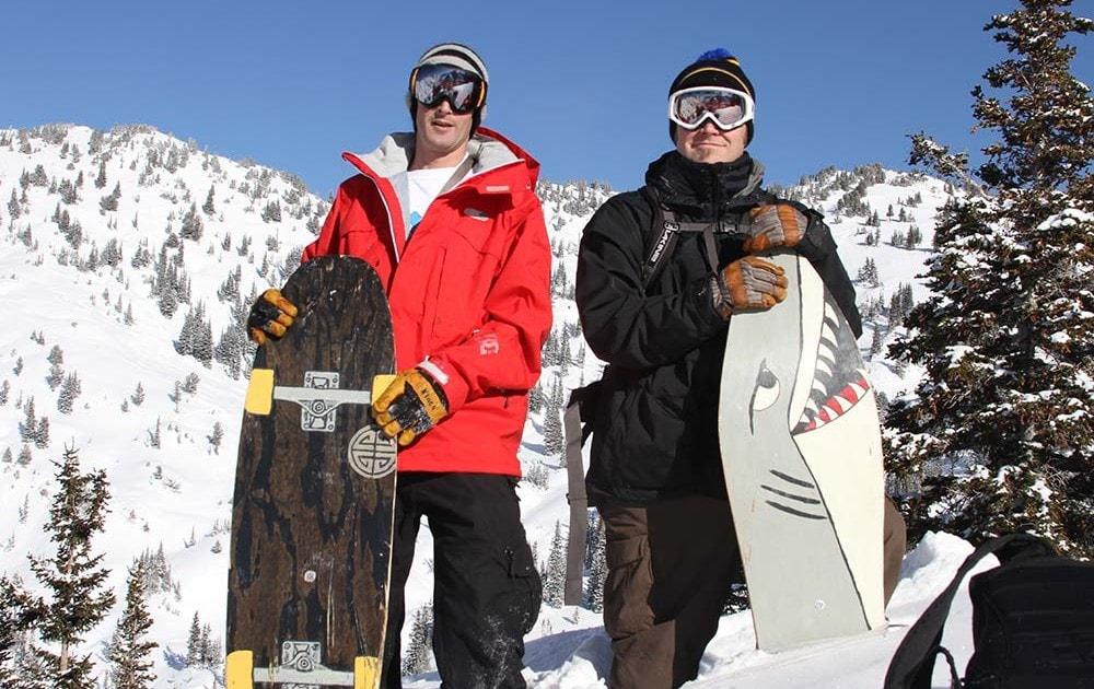 Jeremy Jensen and Dave Smellie in Little Cottonwood Canyon with original Grassroots Powsurfers built in 2008
