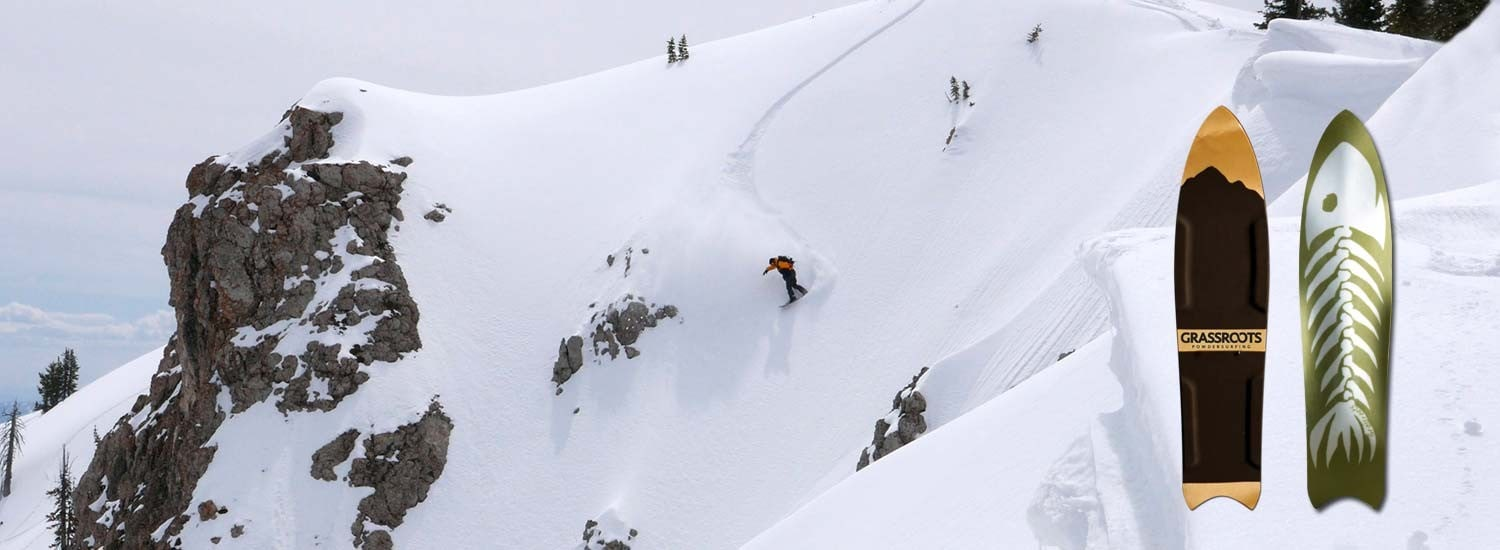 Jeremy Jensen surfing the snow on the big mountains with the Grassroots Barracuda 3D Model Powsurfer