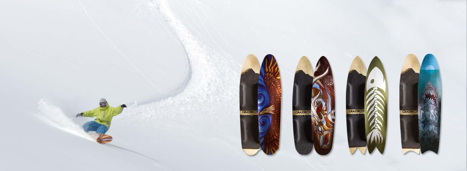 Surf inspired powsurf shapes by Grassroots Powdersurfing for surfing the snow.