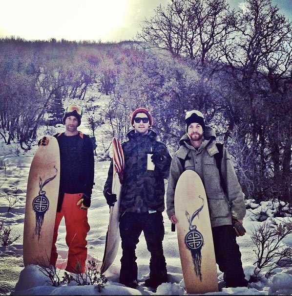 Jeremy Jensen, JJ Thomas, and Scotty Arnold about to surf some powder.