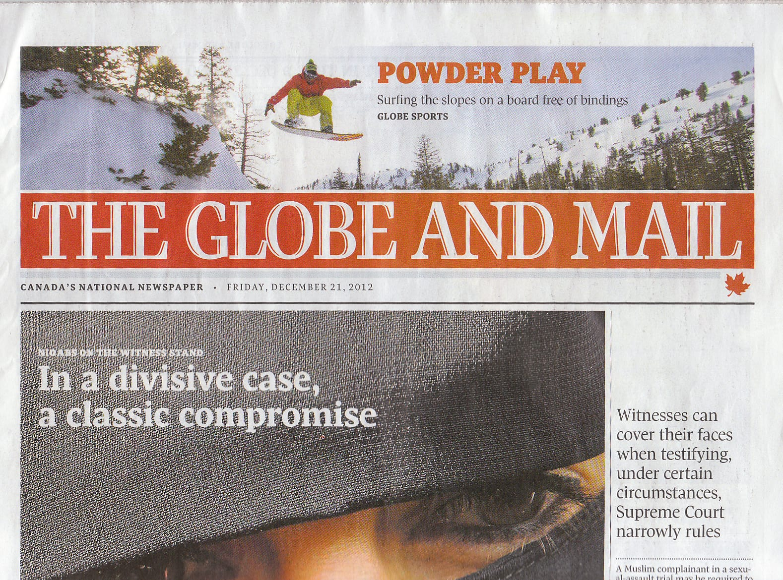 Globe and Mail Article on Grassroots Powsurfing