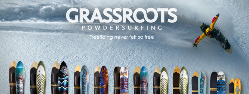 Grassroots Powsurf Online Shop specializing in bindingless powdersurfers and snow surfing accessories.