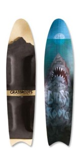 Grassroots Powdersurfing Great White 140cm 3D. 3 Dimensional based bindingless powder board.