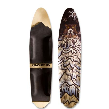 Grassroots Powderslut 140cm 3D Model powsurfer. Handcrafted in Utah. Ullr Graphic