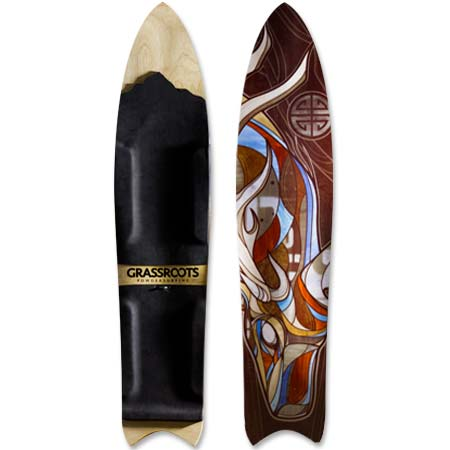 Barracuda 3D Stag Model bindingless powsurfer handcrafted in Utah by Grassroots Powdersurfing