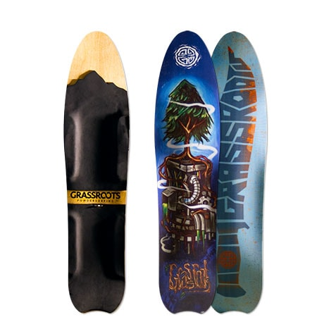 Grassroots Slasher 3D Model bindingless powsurfer handcrafted in Utah