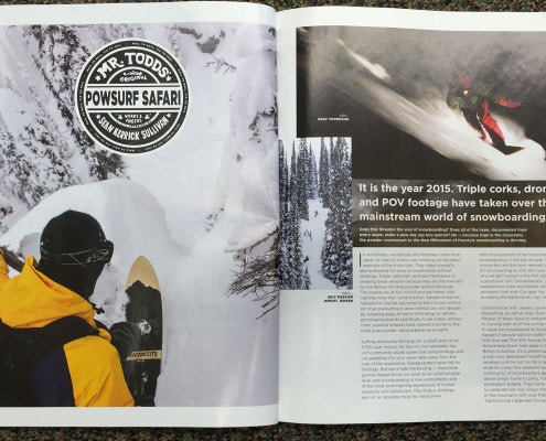 Title page for Powsurf Safari article featured in Snowboard Magazine.