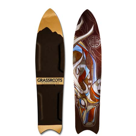 Barracuda 3D Model bindingless powsurfer handcrafted in Utah by Grassroots Powdersurfing