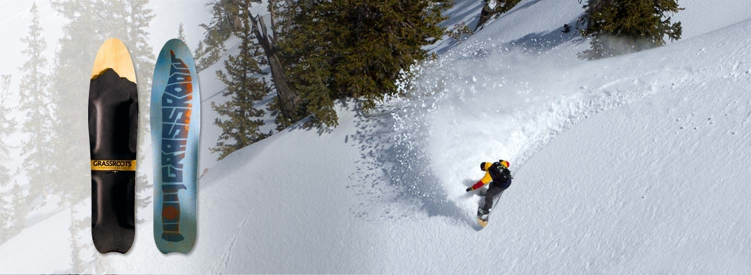 Jeremy Jensen surfing pow on his Grassroots Slasher Powsurfer