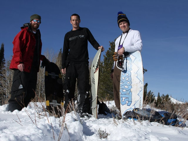 Jeremy Jensen, Dave Smellie and Mike Kerkman riding some of the early Grassroots Powsurfing hand painted powsurfers.