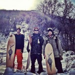 Jeremy Jensen, JJ Thomas, and Scotty Arnold about to surf some powder.