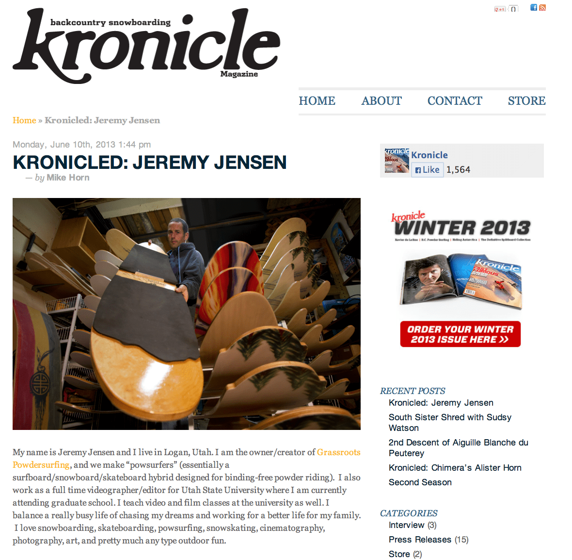Kronicle Magazine Article featuring Jeremy Jensen, shaper and owner of Grassroots Powdersurfing.