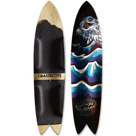 Grassroots Big Phish 150cm 3D Model powsurfer with Phoenix graphic. Handcrafted in Utah.