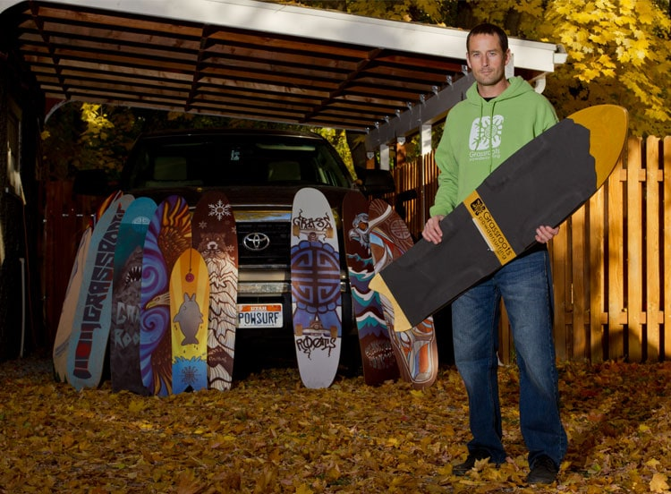 Jeremy Jense, founder, owner and creator of Grassroots Powdersurfing and the world-wide powsurfing movment.