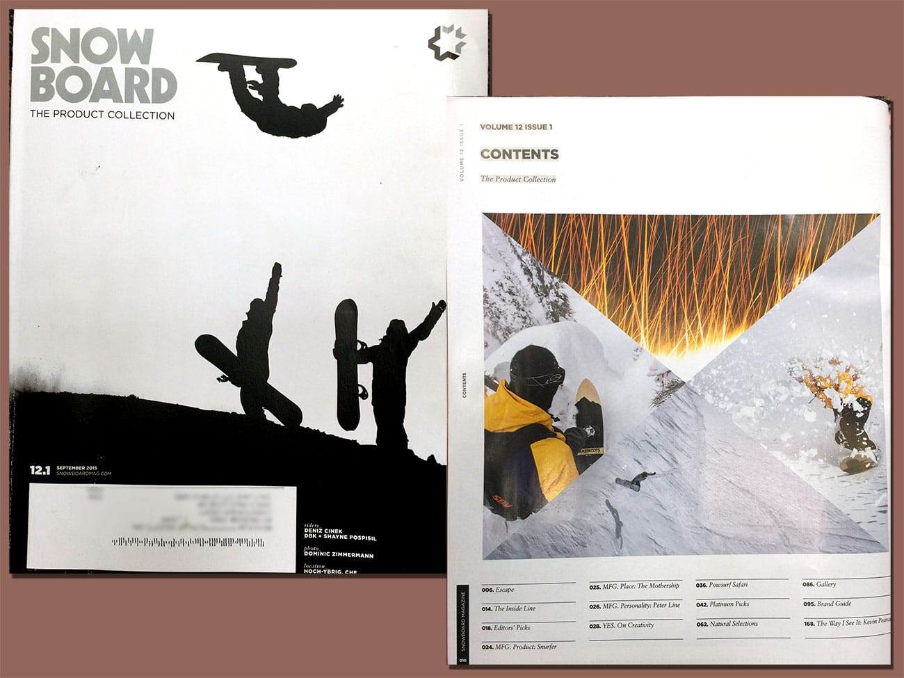 Snowboard Magazine Cover and Index page featuring Grassroots Powdersurfing riders Jeremy Jensen, Gray Thompson and Eric Messier.