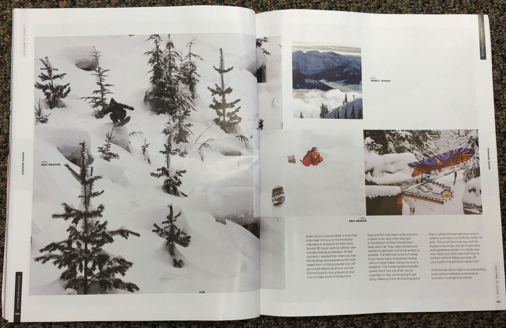 Powsurf Safari Story in Snowboard Magazine featuring Jeremy Jensen, Gray Thompson, and Eric Messier.