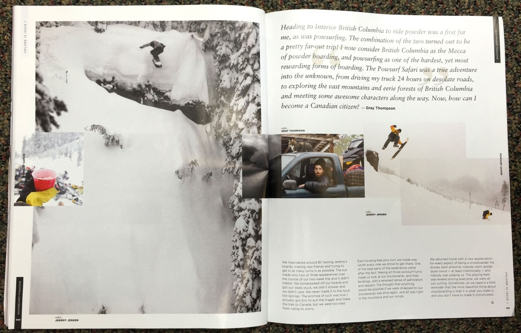 Powsurf Safari story in Snowboard Magazine featuring Jeremy Jensen, Gray Thompson and Eric Messier riding Grassroots Powsurfers.