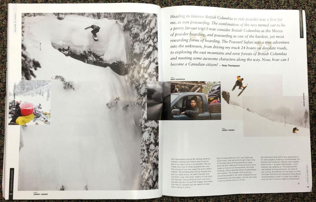 Powsurf Safari story in Snowboard Magazine featuring Jeremy Jensen, Gray Thompson and Eric Messier riding Grassroots Powsurfers.
