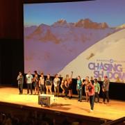 Jeremy Jensen joins other Warren Miller athletes on stage at the world premier of Chasing Shadows in Salt Lake City, Utah