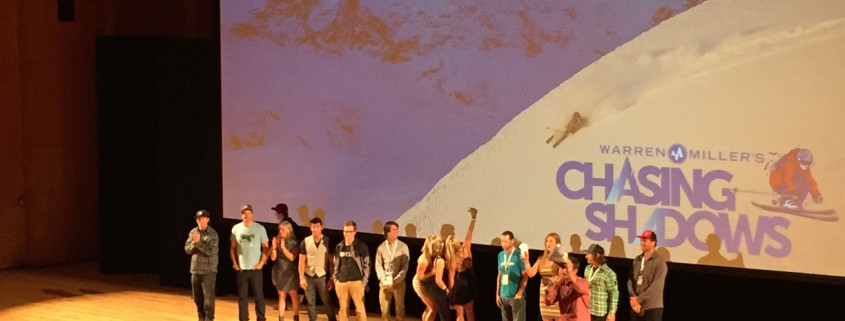 Jeremy Jensen joins other Warren Miller athletes on stage at the world premier of Chasing Shadows in Salt Lake City, Utah