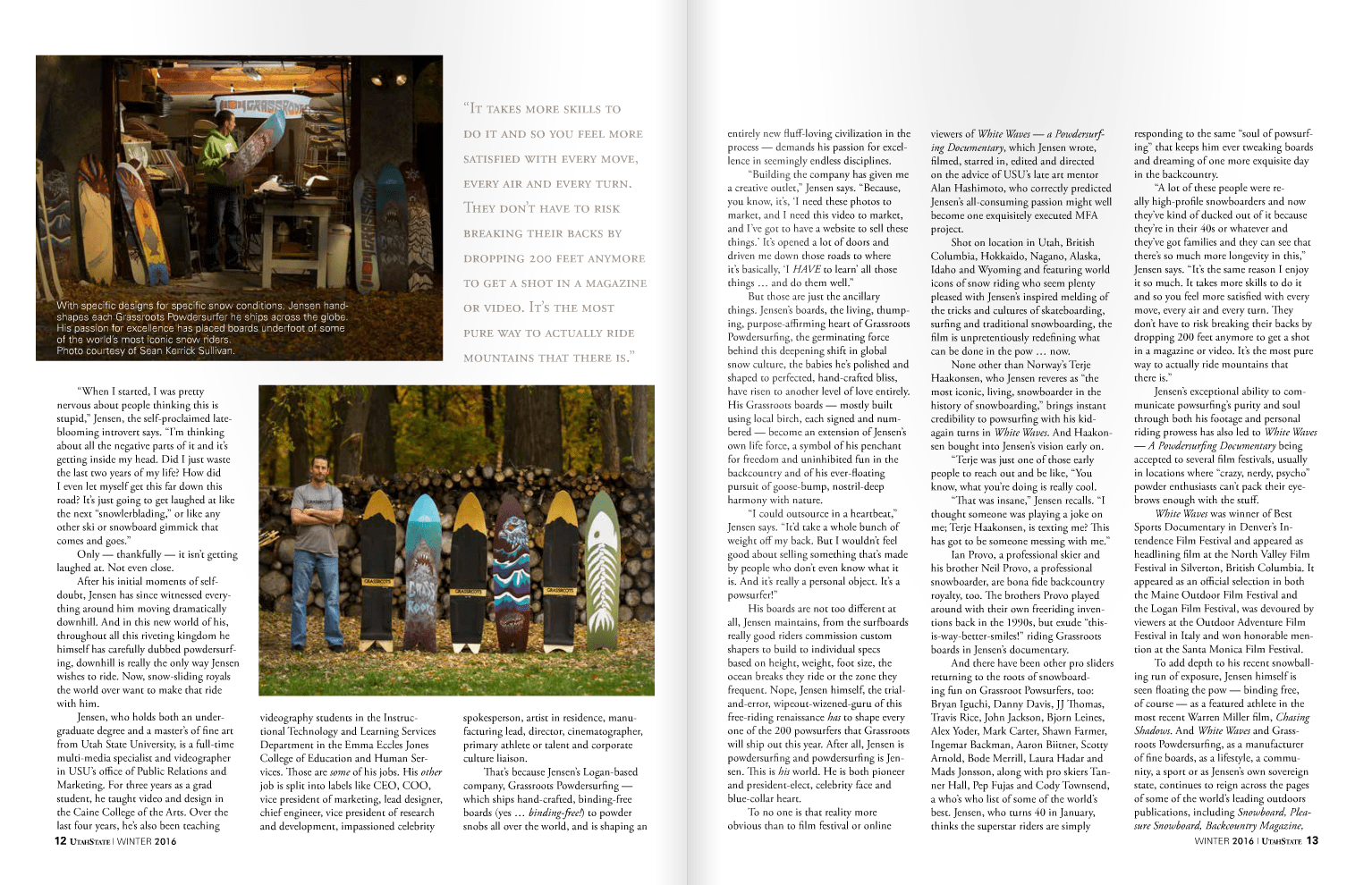Grassroots Powdersurfing owner, founder and shaper Jeremy Jensen featured in Utah State Magazine