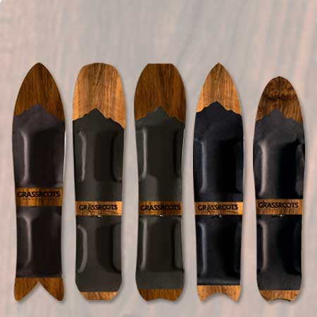 Specialty Powsurfers Crafted with Exotic Wood & Custom Top Sheets